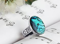 Mens Ring 7 to 15 sizes Abalone shell Ring Mens by ATAjewels