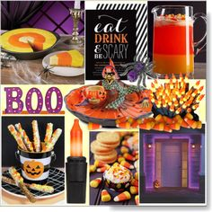 National Candy Corn Day *  October 30th by calamity-jane-always on Polyvore featuring interior, interiors, interior design, home, home decor, interior decorating, Fitz & Floyd, Seasonal Specialties, Philips and Halloween