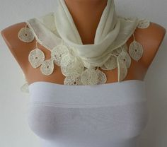 Off White Scarf   Cotton  Scarf  Headband Necklace by fatwoman, $15.00