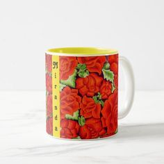 Mexican Embroidery Floral YOUR NAME Coffee Cup Red - floral style flower flowers stylish diy personalize