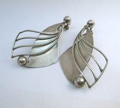 Earrings   William Spratling, ca 1960s. Sterling silver