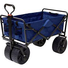 Mac Sports Heavy Duty Collapsible Folding All Terrain Utility Wagon Beach Cart (Blue/Black) Folding Wagon, Beach Wagon, Beach Cart, Travel Trailer Camping, Rv Travel, Beach Travel, Steel Frame Construction, Utility Cart, Blue Towels