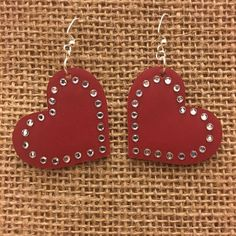 Cranberry Heart with Rhinestone Bling Leather Earrings for Valentine's Day accessories diy handmade Your place to buy and sell all things handmade Diy Leather Earrings, Diy Earrings, Leather Jewelry, Leather Craft, Leather Accessories, Valentines Jewelry, Valentine Crafts, Jewelry Crafts, Handmade Jewelry