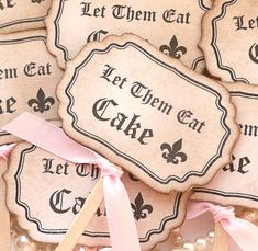 Cupcake Toppers Let Them Eat Cake - Black and Pink - Set of 8 - Set of 8 Novelty Cake Sticks to Impress Your Guests!    Would also be great wedding cake
