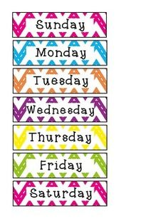 These Cheveron Days of the Week are all on one page. Great for a smaller calendar area, having students put them in order or anything else you can use them for!  Enjoy!   This set also comes bundled in a complete matching Calendar Set which includes:  - Weather Cards - Days of the Week Cards - Months of the Year Cards - Numbers 1-100 for calendar numbers or counting to the 100th Day of School - Name Tags or Labels  - Class Birthday Cakes  Check it out here...
