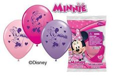 "6 pc 12"" Disney Minnie Mouse Party Latex Balloons Happy Birthday Bow-tique"