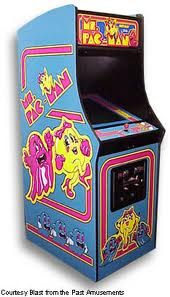 1981: Ms.Pacman. The game is a lot like Pac-Man except that it has four different mazes that change once every two to four screens instead of just one maze throughout the entire game. Also the fruits and prizes walk around the maze instead of appearing at the same spot in the middle of the maze. These bonus items include cherries, strawberries, peaches, pretzels, apples, pears and bananas. CLIC PICTURE TO SEE IT IN ACTION.