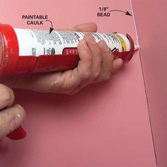 Caulk Cracks at Inside Corners - 11 Tips for Faster, Neater Painting: http://www.familyhandyman.com/painting/tips-for-faster-neater-painting