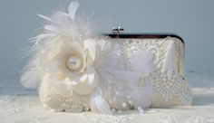 Ivory Bridal Clutch / Vintage Bride / French by PetiteVintageBags, $120.00