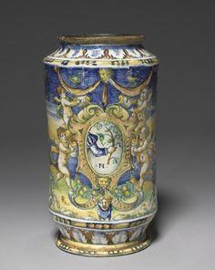 Cylindrical Storage Jar  workshop of Domenigo da Venezia (Italian)    Date: early 1500s    Medium: tin-glazed earthenware (Maiolica)