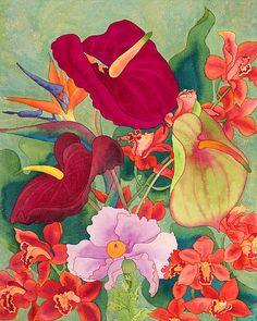 Anthuriums, oiseaux de paradis, orchidées, peinture à l