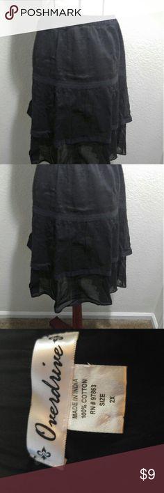 Overdrive tiered skirt Plus size fun skirt!  Black Tiered design Lightweight cotton Knee length Overdrive  Skirts Midi
