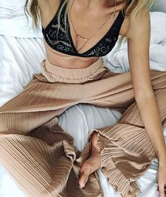 """saboskirt: """" Pleat perfection in the Camel Pleat Pants with @mayastepper available now at #SaboSkirt.com """""""