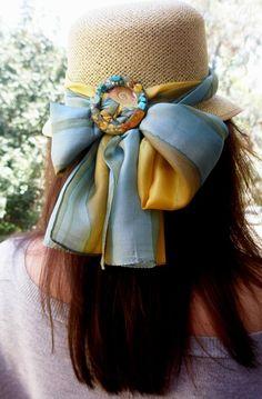 Straw hat, silk scarf, buckle with gemstones Headbands, Gemstones, Silk, Rings, Accessories, Jewelry, Fashion, Tes, Moda