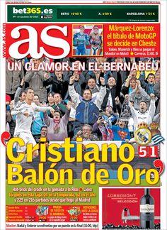 Los Titulares y Portadas de Noticias Destacadas Españolas del 10 de Noviembre de 2013 del Diario Deportivo AS ¿Que le pareció esta Portada de este Diario Español?