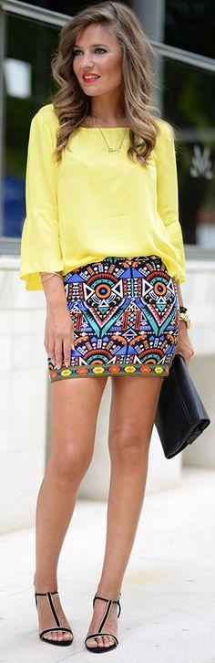 Multi Ethnoc Print Mini Skirt by Mi Aventura Con La Moda