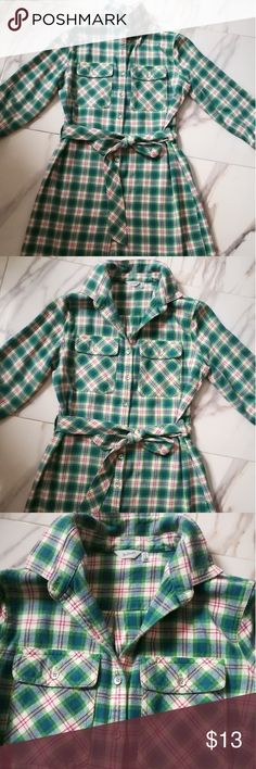 """💝 plaid shirt dress by Woolrich Super cute and comfortable plaid shirt dress by Woolrich. 100% cotton.  Barely worn, good condition. No stains, rips, imperfections.  14.5"""" shoulder width when laying flat 36"""" long  Button closure, 3/4 sleeves, removable belt.  Smoke free, fast shipping. Woolrich Dresses"""