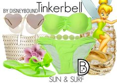 Disneybound at the beach in this Tinkerbell outfit.  | Disney Fashion | Disney Fashion Outfits | Disney Outfits | Disney Outfits Ideas | Disneybound Outfits |