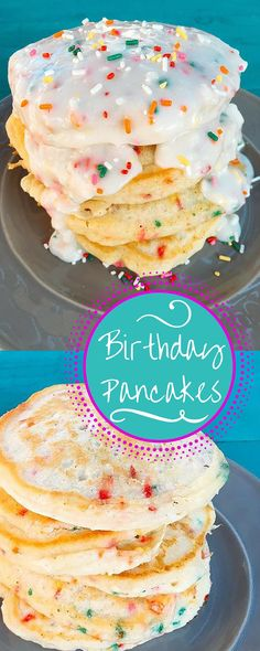 Pancakes made from scratch confetti style with sprinkles and a cream cheese glaze!  Use your favorite colors or holiday colors for a fun twist!   Three Olives Branch
