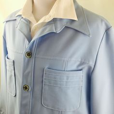 Vintage JC Penny Leisure Suit Baby Blue Polyester Big Collar Blazer Jacket XL #JCPenny #FourButton