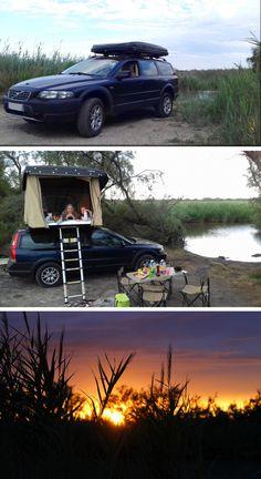 France Bivouac et tourisme, Camargue. Camping en Tente de toit Hussarde Quatro. Volvo, XC 70,