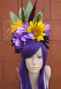 Sunflower and Iris Feather Headdress, Flower Headdress, Flower Headband, Floral Crown, Festival Wear by rainbowgoddessdesign on Etsy