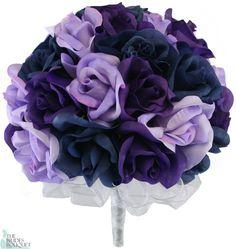 Navy Blue, Lavender and Purple Silk Rose Hand Tie (3 Dozen Roses) - Bridal Wedding Bouquet