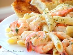 Shrimp in Garlic Sauce over Penne