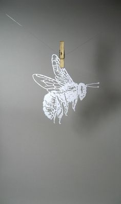 Bumble Bee Insect PaperCut Scherenschnitte in White by catfriendo, $30.00