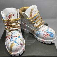 low priced 9faa1 25aef White and Gold 24K Timberland Boots- Custom Timberlands-