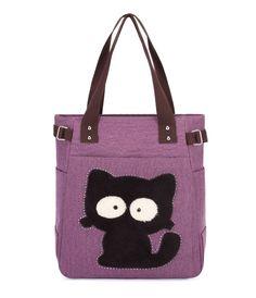 11.58 35% de DESCUENTO Fzmbai lona del bolso con el gato lindo Appliques  moda portátil señoras diamantes hombro totes en Bolsas de hombro de Bolsos  y ... aa4f3bc624