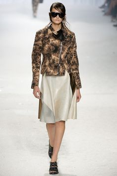 3.1 Phillip Lim Spring 2014 Ready-to-Wear Collection Slideshow on Style.com fluid knee-length skirt of neutral leather
