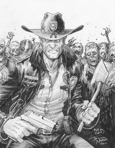 Rick Grimes with two hands! - Commissioned art by Tony Moore (2011)