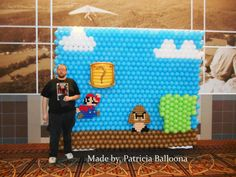 Balloon Mario Wall made by Patricia Balloona. https://patriciaballoona.wordpress.com/2015/02/28/454th-balloon-sculpture-mario-stage-wall/
