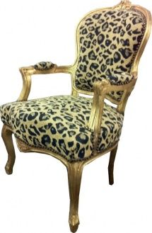 Barock Salon Stuhl Leopard/Gold Mod6 - Limited Edition