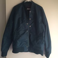 Teal Bomber Jacket (not found online or in stores) 21 men's bomber jacket that can be worn as over sized female bomber. in 10/10 great condition tagged H&M for exposure. I accept offers. H&M Jackets & Coats
