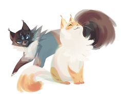 "bedupolker: "" tigerstar's horrible son and under-appreciated daughter i know the seal point coloring is improbable but consider this: Warrior Cat Drawings, Warrior Cats Art, Animal Drawings, Cute Drawings, Matou, Creature Design, Cat Art, Cute Cats, Character Design"