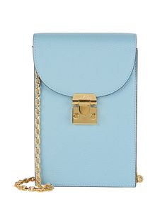 Mark Cross Francis Leather Crossbody Pouch In Blue-lt Leather Crossbody, Crossbody Bag, Blue Crafts, Mark Cross, Brass Hardware, Luxury Branding, Pouch, My Favorite Things, Totes