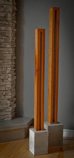 Wood and Light Sculpture Stehlampe Kostenloser Versand Deutschland Concrete Light, Concrete Lamp, Concrete Projects, Diy Wood Projects, Wooden Lamp, Diy Holz, Into The Woods, Wood Sculpture, Lamp Design