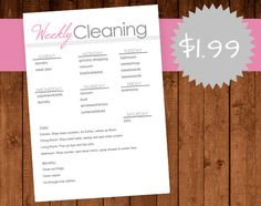 Customizable Cleaning Daily/Weekly Checklist Printable PDF 5x7 for the fridge :)