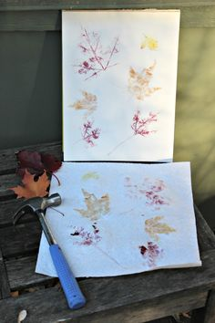 As leaves begin to turn this Fall, grab a hammer and create some colorful nature art prints!  Perfect activity for kids