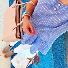 IG @mrscasual <click through to shop this look> striped peplum top (under $10) white skinny jeans. Peep toe ankle booties. Layered delicate necklace. Tory burch York buckle tote.