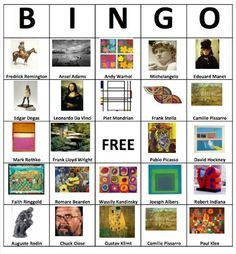 Make bingo cards with famous paintings.  I could see making this a review game by calling out the artist name and students put the marker on the corresponding painting.  Or do something with elements and principles as call words with paintings that correspond on the boards.