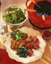 The newest addition to Swiss meat fondue recipes...Fondue Vigneronne-cooked in wine! Just delicious