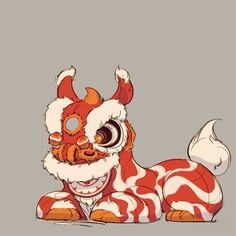 The Seventh Lion, character design that depicts the Chinese cultural art of the Chinese New Year lion dance as a real animal. Art And Illustration, Chinese Lion Dance, Chinese New Year Dragon, Lion Drawing, Dancing Drawings, Fu Dog, Besties, Lion Art, China Art