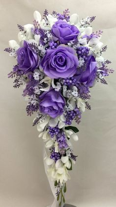 Artificial Silk Flower Purple Roses/Cream Orchids Teardrop Wedding Bouquet