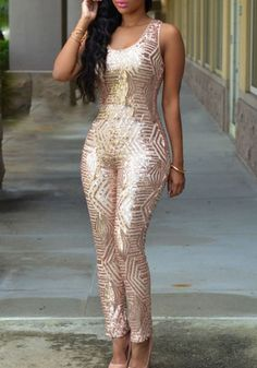 Champagne Gold Geometric Sequin Round Neck Sleeveless Fashion Long Jumpsuit