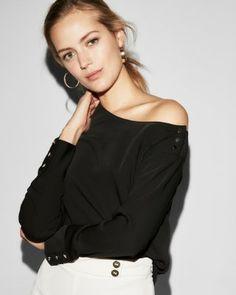 one shoulder button blouse
