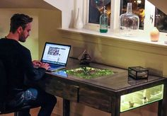 Glowing Terrarium Desk Soothes Work-Related Stress : TreeHugger -   Norway-based product developer Daniel Zeller created this lovely desk that features a glowing terrarium within.