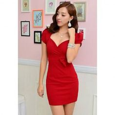 $7.78 Elegant V-Neck Low-Cut Puff Cuff Short Sleeves Open Back Bowknot Decoration Acrylics Spring Dress For Women